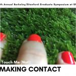 Touch Me (Not): Making Contact. Image: Fingers with red fingernails touch moss.